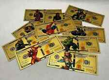 More details for stunning set of ten  different avengers / hero gold plated  banknote's