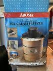 Aroma 4 Quart Ice Cream Freezer w Hand Crank  Electric Motor NEW
