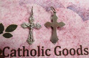1  inch Silver Tone Oxidized Italian Crucifix