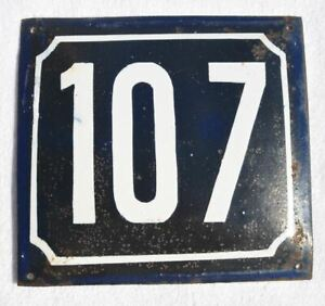 1900s Imperial Russia Russian House Wall Hot Enamel Number Sign #107