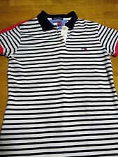 Tommy Hilfiger Womens Tunic Short Sleeve Shirt Striped Red White Blue Polo Small