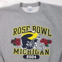 Vtg Michigan Wolverines 2004 Rose Bowl Football Russell Sweatshirt, Mens Medium