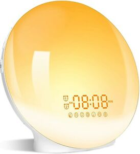 Wake Up Light Sunrise Alarm Clock, LBell Clock Radio, 7 Colored Night Light, Sun