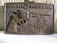 """""""Smith and Wesson"""" Belt Buckle Brass Worlds Finest Handgun"""