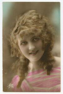 1920s French Glamour PRETTY YOUNG LADY pre flapper vintage photo postcard