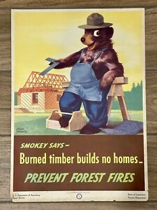 1946 Smokey The Bear Says Poster USDA Forest Service Albert Staehle 47-CFFP-9
