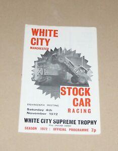 1972 White City Brisca F1 stock car programme, 4 November (Supreme Trophy)