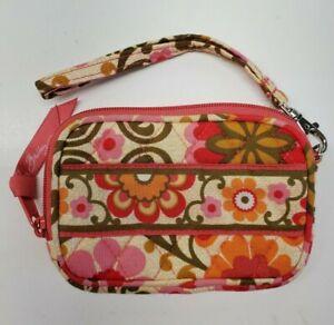 Vera Bradley Folkloric Wristlet Wallet Detachable Strap Pink Case EUC