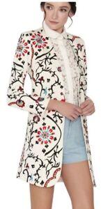 Alice + Olivia Chriselle Embroidered Long Jacket Floral Blazer Size 2 NWOT