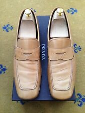 Prada Mens Shoes Tan Brown Leather Loafers UK 10 US 11 EU 44 Made in Italy