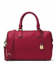 New MICHAEL KORS MD Mercer studio collection leather Mk DUFFLE Cherry  BAG tote