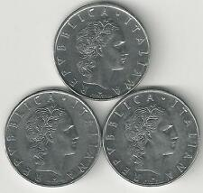 3 DIFFERENT 50 LIRE COINS from ITALY (1974, 1975 & 1976)