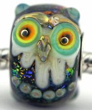 Wise Owls glass european charm bead Mandy Ramsdell bird sterling silver lampwork