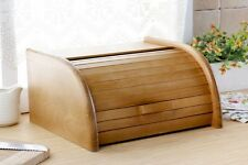 Wooden Bread Box Apollo Roll Top Bin Storeage Loaf Kitchen Large - Light Brown
