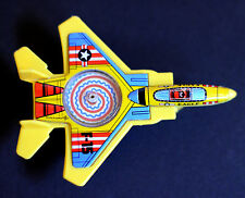 Vintage Tin and Plastic F-15 Eagle Friction Fighter Plane W/ Spinning Top