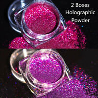 2Boxes Holographic Laser Glitter Powder Nail Art Purple Pigment Dust Decor Kit