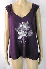 (135) GEORGE Purple Low Cut Sleeveless TShirt Top Floral Print Sz 20
