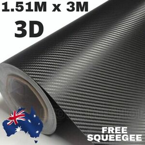 1.51M X 3M 3D BLACK CARBON FIBER FIBRE CAR VINYL WRAP FILM ROLL AIR RELEASE