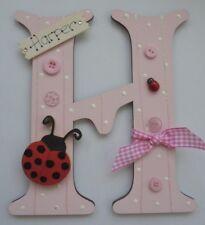 Coccinelle personnalisé * toute lettre & Nom * KIDS Chambre Porte Signe Plaque Rose clair