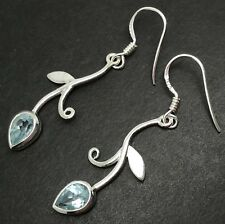 Blue topaz pear drop earrings, solid Sterling Silver, scrollwork, actual ones,