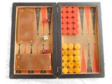 Vintage Backgammon Set Folding Board Red Butterscotch Swirl Pieces bakelite ?