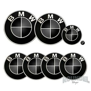 For BMW Badges - Gloss Black & Dark Grey - All Models Decals Wrap Stickers