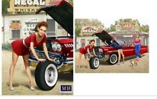 MASTER BOX 1:24 Pin-Up Girl wearing Mini-Skirt Leaning On Tire MBL24017