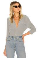 $230 Equipment Slim Signature Silk Shirt Gray