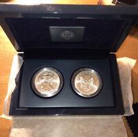 2020 AMERICAN SILVER EAGLE (2) Coin Set .999 1 Oz Silver W/ Display Box Us Mint