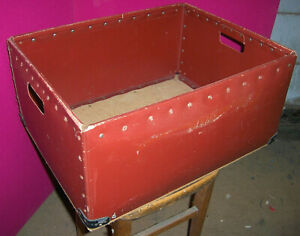 Vintage Fibre Terracotta Work Bin Plywood Base - Used in Clothing trade