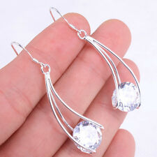 Classic Clear Crystal Inlay 925 Sterling Silver Girls Earrings Jewelry H365