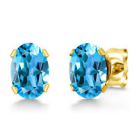 1.10 Ct Oval Shape Swiss Blue Topaz Yellow Gold Plated Silver Stud Earrings