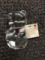 Fenton Glass Teddy Bear Figurine Red Heart Ruby July Birthstone USA Paperweight