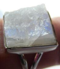 Weißer Labradorit-Ring, Rohstein 925er Silber, Gr. 54