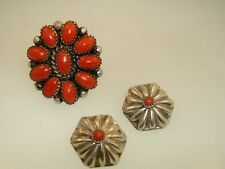 VINTAGE NATIVE AMERICAN NAVAJO STERLING SILVER & CORAL RING & EARRINGS! OLD PAWN