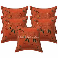 Cotton 16 x16 Gold Embroidered Pillow Case Covers Indian Elephant Cushion Covers