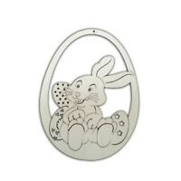 Wooden Easter Decoration,Set of 5 of Hanging Egg whit Rabbit, - Decoupage