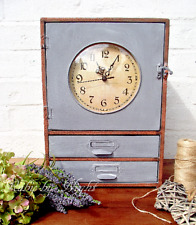 Rustic Metal Cupboard with Clock & Drawers French Vintage Zinc Cabinet Style