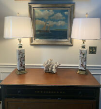 Vintage Asian hand painted table lamps Pair Cherry Blossoms. Brass, Hollywood Re