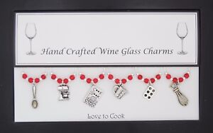 Love to Cook Cooking Set of 6 Wine Glass Charms Handmade Just for You
