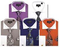 C.Allen Dress shirts Tie Combo French Cuffs Purple Plum Navy blue Grey Cognac