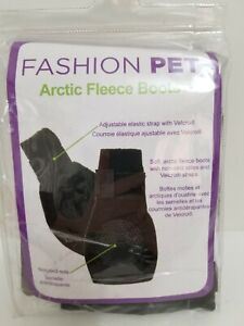 Fashion Pet Arctic Fleece Boots size XL Soft Black Non-Skid Adjustable Strap