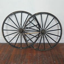 """Pair of Antique 42"""" Wooden 16 Spoke Carriage Wagon Wheels"""