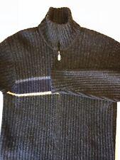 J Crew Mens Gray Blue Shetland 100% Wool Full Zip Ribbed Knit Sweater Medium