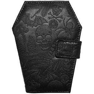 Kreepsville 666 Embossed Skull Coffin Shape Vegan Wallet Black Medium