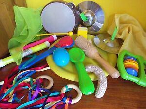 Kids Preschool Music Instruments Cymbals Tambourine Maraca Woodblock Props 1a