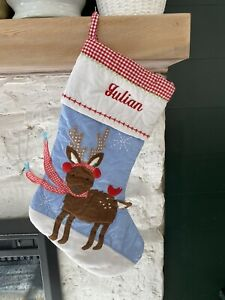 "Pottery Barn Blue Quilted Christmas Stocking Monogram ""Julian"" Reindeer NWOT"