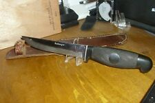 """Vintage CATTARAUGUS Textured Handle Hunting Knife 9-5/8"""" With Leather Sheath"""