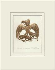 Haida artist BILL REID Embossed GOLD EAGLE & FROG matted art print