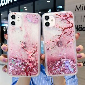 Luxury Shining Glitter Case Rose Pink Tree Liquid Quicksand Cover For iPhone 11